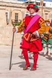 在圣Jonh的骑士的瓜迪亚游行在比尔古,马耳他。 免版税库存照片