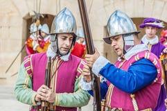 在圣Jonh的骑士的瓜迪亚游行在Birgu,马耳他。 图库摄影