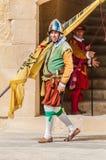 在圣Jonh的骑士的瓜迪亚游行在Birgu,马耳他。 免版税库存照片