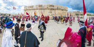 在圣Jonh ` s骑士的瓜迪亚游行在比尔古,马耳他 免版税库存照片