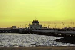 在圣Kilda码头的Suntset 库存照片