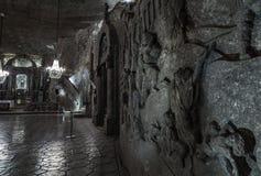 在圣Kinga&#x27的Bas-reliefes; s教堂- 101米地下  免版税库存图片