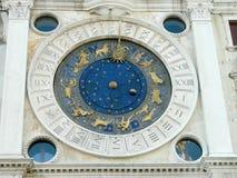 在圣Marco广场的黄道带时钟在威尼斯,意大利 免版税库存照片