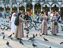 在圣Marco广场结转鸽子的Nons 免版税库存图片