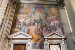 在圣Marco教会,佛罗伦萨,意大利内部的壁画 图库摄影