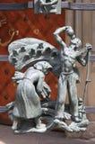 在圣Vitus大教堂哥特式门的装饰  免版税库存图片