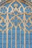 在圣Vitus大教堂的哥特式视窗在布拉格,捷克语 免版税库存图片