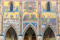 在圣Vitus大教堂的最后判断马赛克布拉格城堡的 免版税库存照片