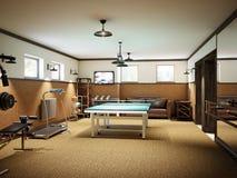在地下室的家庭健身房与健身设备和乒乓球 免版税库存图片