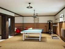 在地下室的家庭健身房与健身设备和乒乓球 库存照片