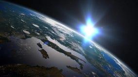 在地中海的地球日出 皇族释放例证