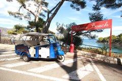 在地中海的帕路玛海滩,尼斯,法国 库存照片