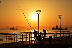 在地中海的日出 库存照片