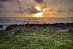 在地中海的日落 库存图片