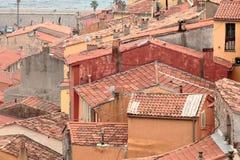 在地中海的欧洲建筑学,芒通法国 库存照片