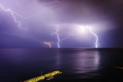 在地中海的风暴 利马索尔 塞浦路斯 库存图片