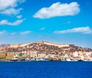 在地中海西班牙的卡塔赫钠地平线穆尔西亚 库存图片