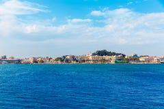 在地中海西班牙的卡塔赫钠地平线穆尔西亚 图库摄影
