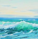 在地中海,波浪,例证的早晨,绘由o 免版税库存图片