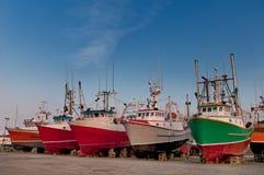 在地产的鱼拖网渔船 图库摄影