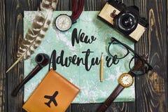 在地图概念的新的冒险文本标志 同意新的冒险 库存照片