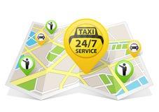 在地图的出租汽车apps 库存图片