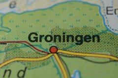 在地图的城市名字格罗宁根 免版税库存图片