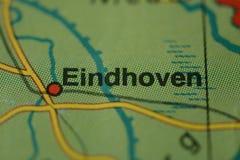 在地图的城市名字艾恩德霍芬 库存图片