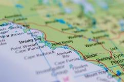 在地图的急切海湾 免版税库存图片