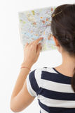 在地图的手指 库存照片