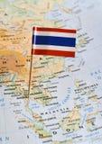 在地图的泰国旗子 库存照片