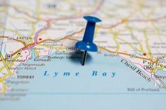 在地图的莱姆海湾 免版税库存照片
