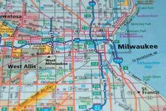在地图的路在密尔沃基市附近,美国,行军2018年 免版税库存图片