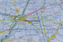 在地图的Châteauroux 图库摄影