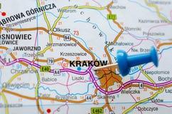 在地图的Krakà ³ w 免版税库存照片