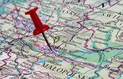 在地图的Pin 免版税库存图片