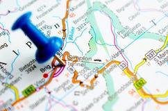 在地图的Simplon隧道 库存照片