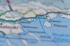 在地图的Thassos 库存照片