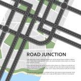 在地图背景的复杂公路交叉点 安置文本 名列前茅v 免版税库存照片