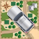 在地图背景的汽车 库存图片