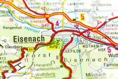 在地图,艾森纳赫,图林根州的瓦尔特堡城堡 免版税库存图片