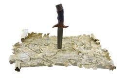 在地图3的刀子 免版税图库摄影