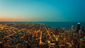在地平线的芝加哥鸟瞰图 图库摄影