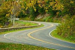 在地平线驱动的S弯曲的路 库存照片