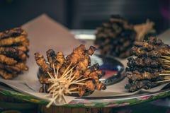 在地方市场上的传统烤肉在唐人街,吉隆坡 街道食物在吉隆坡,马来西亚 免版税库存照片