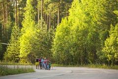在地方竞争期间的参加者在北欧人走致力于天健康 库存图片