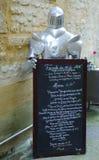 在地方餐馆的菜单在Sarlat,法国 免版税库存图片