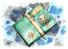 在地板上的不可思议的书 免版税库存图片