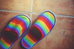 在地板上的减速火箭的被定调子的彩虹颜色样式拖鞋 库存图片