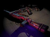 在地板上的未来派枪 免版税库存图片